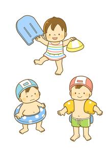 水着を着てビート板やうきわを持った子供たちのイラスト素材 [FYI01693890]