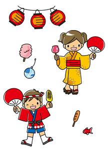 お祭りの法被と浴衣姿の子どもたちとお祭りグッズのイラスト素材 [FYI01693893]