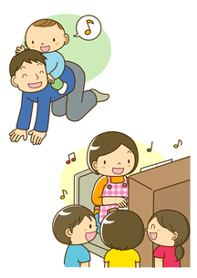 お馬さんごっこをするお父さんと歌を歌う先生と子供のイラスト素材 [FYI01693894]