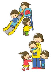 すべりだいであそぶ幼稚園児と保育士さんに抱っこする子供のイラスト素材 [FYI01693895]