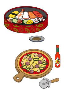 お寿司とピザのイラスト素材 [FYI01693896]