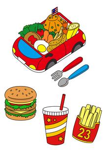 お子様ランチとハンバーガーとドリンクとポテトのイラスト素材 [FYI01693899]