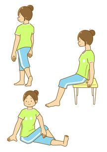 椅子を使ったストレッチや足のストレッチをする女性のイラスト素材 [FYI01693906]