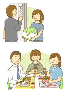 エレベーターに乗る女性とランチを食べる会社員のイラスト素材 [FYI01693915]