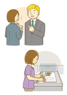 外国人と話す女性社員とコピーを取る女性のイラスト素材 [FYI01693918]