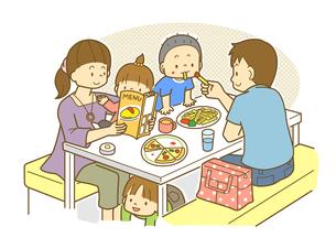レストランで食事をする家族のイラスト素材 [FYI01693925]