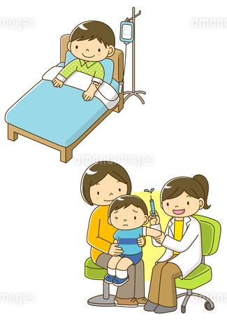 病院で点滴を受ける子供と予防接種をする子供のイラスト素材 [FYI01693927]