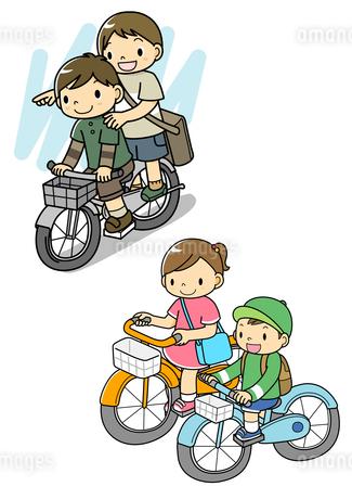自転車に2人乗りする男の子とサイクリングの子供のイラスト素材 [FYI01693928]