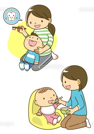 子供の歯みがきをするお母さんと離乳食の子供のイラスト素材 [FYI01693931]