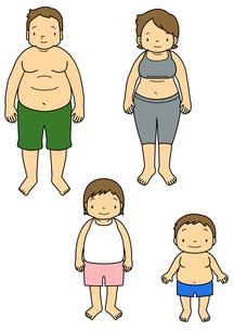 メタボリックな両親と子供のイラスト素材 [FYI01693940]