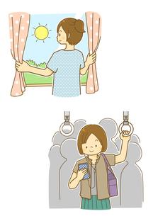 カーテンを開ける女性と通勤をする女性のイラスト素材 [FYI01693943]