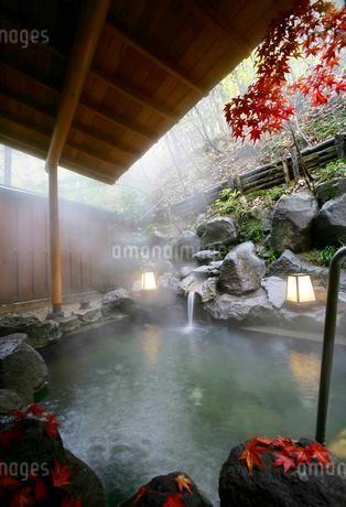 秋の露天風呂の写真素材 [FYI01694148]