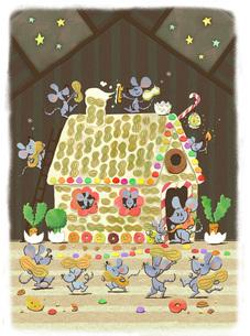 たくさんのネズミとお菓子のおうちのイラスト素材 [FYI01694541]