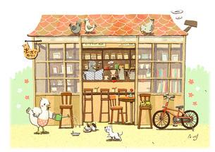 トリのカフェと動物たちのイラスト素材 [FYI01694621]