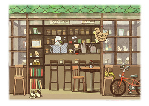 トリのカフェのイラスト素材 [FYI01694647]