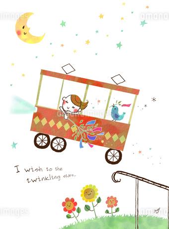 月夜の中バスに乗る女の子と青い鳥のイラスト素材 [FYI01694672]