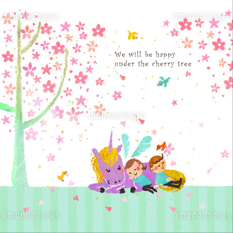 桜の木の下で昼寝するカップルとユニコーンのイラスト素材 [FYI01694703]