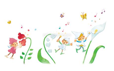 春の妖精たちの花コンサート(楽器)のイラスト素材 [FYI01694743]