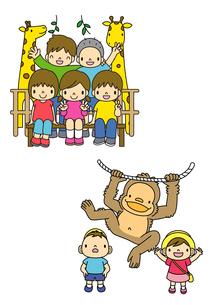 動物園でキリンとチンパンジーを見る子供たちのイラスト素材 [FYI01694883]
