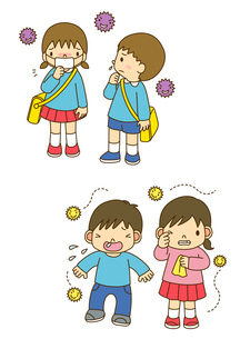 風邪をひいた幼稚園児とアレルギーでくしゃみをする子供のイラスト素材 [FYI01694902]