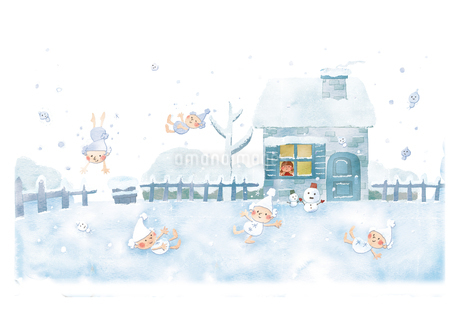 庭に降りて来た冬の妖精たちのイラスト素材 [FYI01695021]