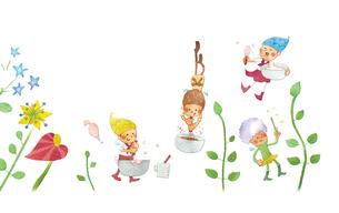 春の妖精たちの花クッキング(ケーキ)のイラスト素材 [FYI01695165]
