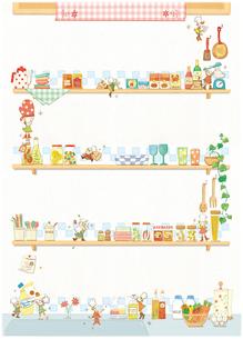 キッチン雑貨と小人たちのイラスト素材 [FYI01695166]