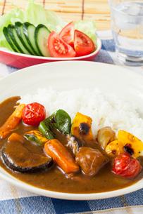夏野菜カレーとサラダの写真素材 [FYI01695496]