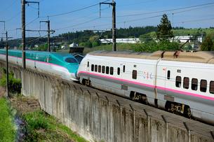 東北新幹線はやてと秋田新幹線こまちの写真素材 [FYI01698658]