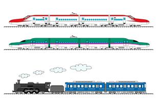 新幹線(こまち、はやぶさ)と蒸気機関車のイラスト素材 [FYI01698701]
