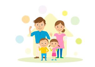 家族と家のイラスト素材 [FYI01698705]
