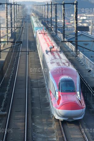 秋田新幹線スーパーこまちと東北新幹線はやての写真素材 [FYI01698997]