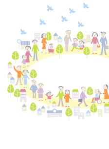 平和に暮らす街の人たちのイラスト素材 [FYI01699445]
