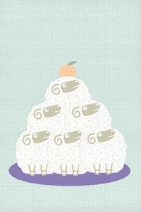 羊でつくる鏡餅のイラスト素材 [FYI01699486]