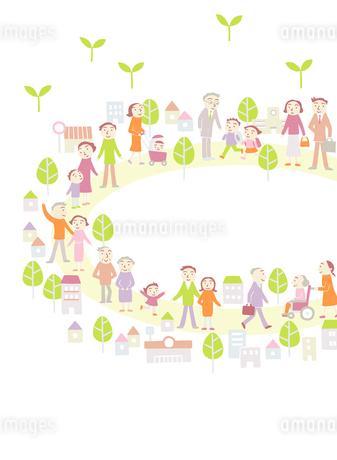平和に暮らす街の人たちのイラスト素材 [FYI01699489]