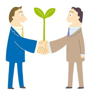 握手するビジネスマンに芽が出るのイラスト素材 [FYI01699499]