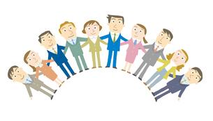 スクラムを組むビジネスマンたちのイラスト素材 [FYI01699502]