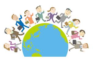 世界を駆け回るビジネスマンたちのイラスト素材 [FYI01699503]