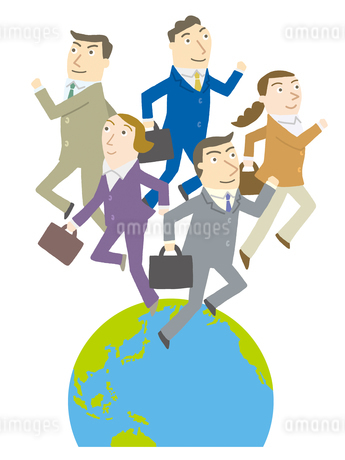 世界に飛び出すビジネスマンたちのイラスト素材 [FYI01699507]