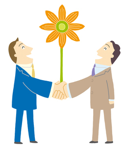 握手するビジネスマンに花が咲くのイラスト素材 [FYI01699520]