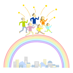 虹を渡る家族のイラスト素材 [FYI01699539]
