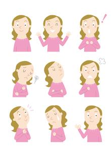 いろいろな表情のイラスト素材 [FYI01699553]
