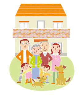 家族とマイホームのイラスト素材 [FYI01699557]