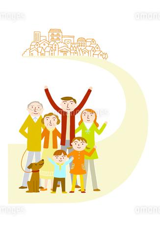 住みやすい町に向かう家族のイラスト素材 [FYI01699559]