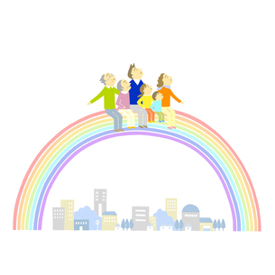 虹に乗る家族のイラスト素材 [FYI01699585]