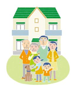 家族とマイホームのイラスト素材 [FYI01699612]