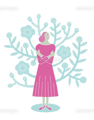 花をバックに立つ女性のイラスト素材 [FYI01699614]
