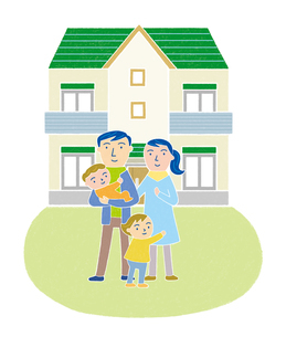 家族とマイホームのイラスト素材 [FYI01699616]