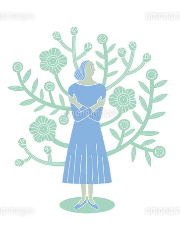 花をバックに立つ女性のイラスト素材 [FYI01699624]