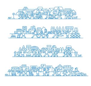 町で暮らす人々のイラスト素材 [FYI01699649]